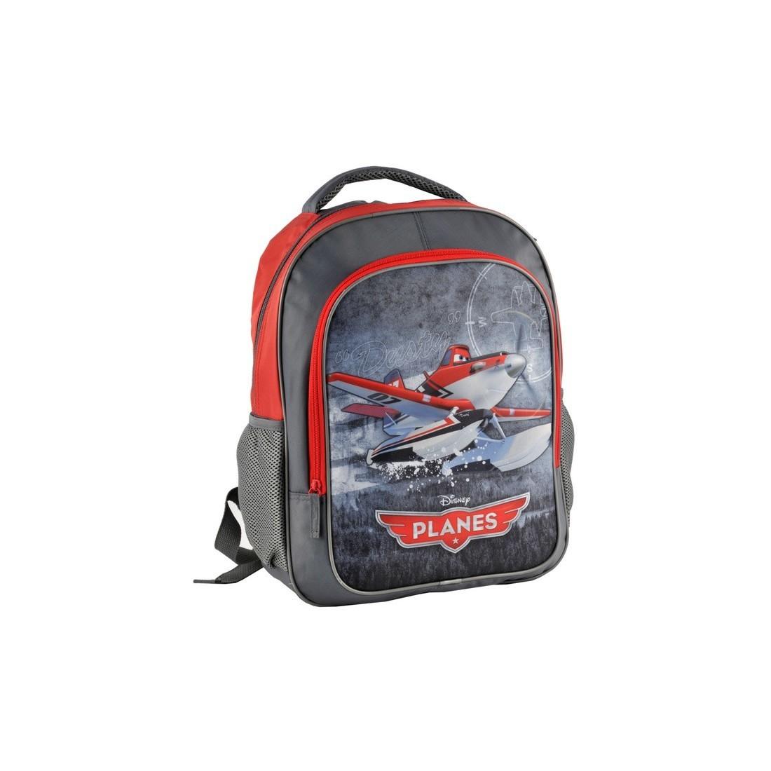 Plecak szkolny Samoloty Planes szaro czerwony - plecak-tornister.pl