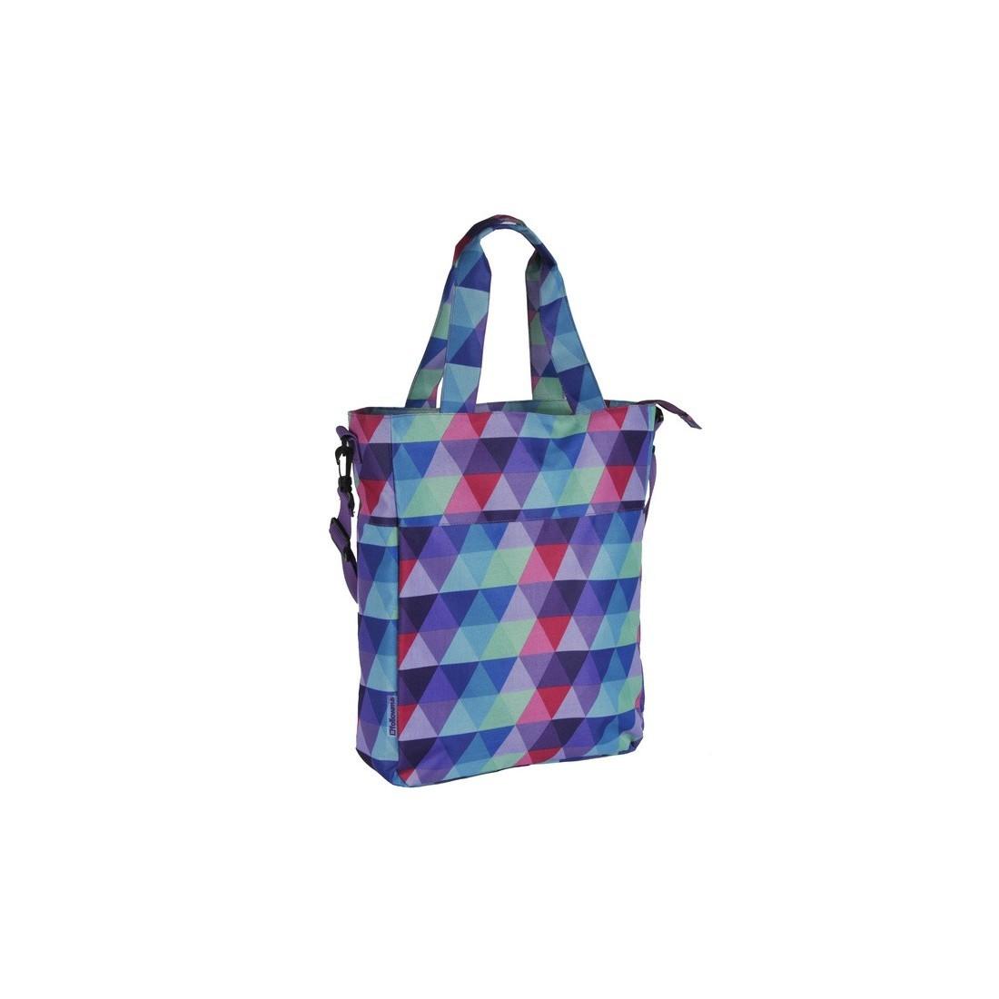 Torba na ramię miejska w kolorowe trójkąty - plecak-tornister.pl