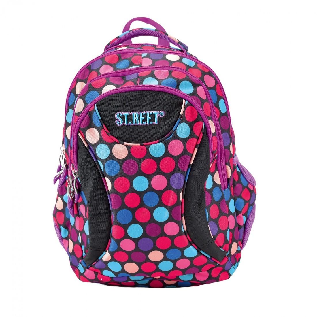 d5800b40e17b7 Plecak młodzieżowy 02 ST.REET czarny w kolorowe kropki DOTS 1 PURPLE&PINK