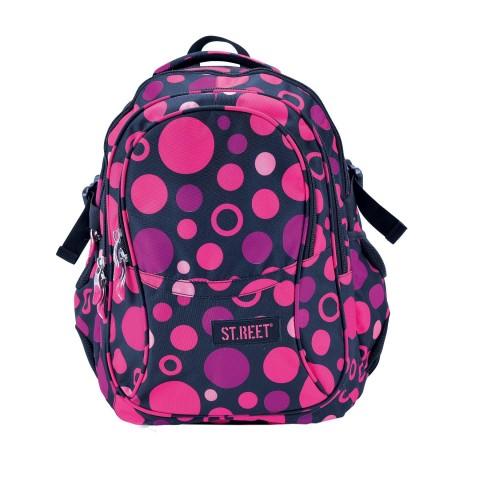 Plecak młodzieżowy 01 ST.REET czarny w różowe kropki DOTS 3 BLACK&PINK