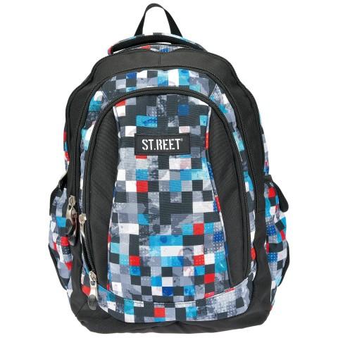 Plecak młodzieżowy 04 ST.REET szary w kwadraciki, w kratkę PIXELS