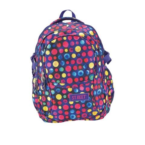 Plecak młodzieżowy 01 ST.REET fioletowy w kropki DOTS 2 PINK&YELLOW