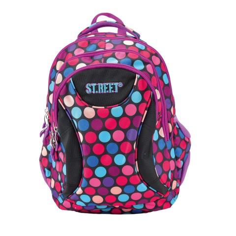Plecak młodzieżowy 02 ST.REET czarny w kolorowe kropki DOTS 1 PURPLE&PINK