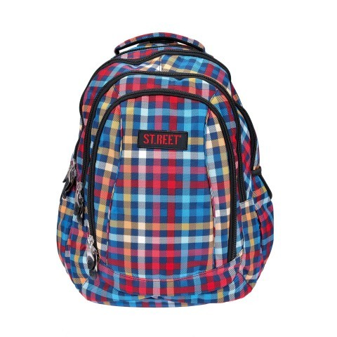 Plecak młodzieżowy 04 ST.REET kolorowy w kratkę CHEQUERED 7 RED&BLUE