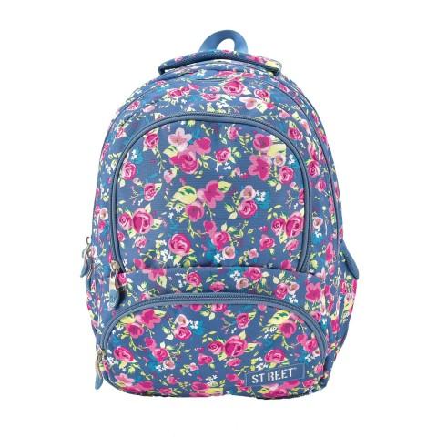 Plecak młodzieżowy 07 ST.REET niebieski w kwiaty FLOWERS 2 NAVY BLUE