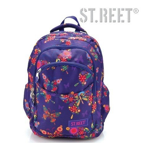 Plecak młodzieżowy 03 ST.REET fioletowy w motyle BUTTERFLY