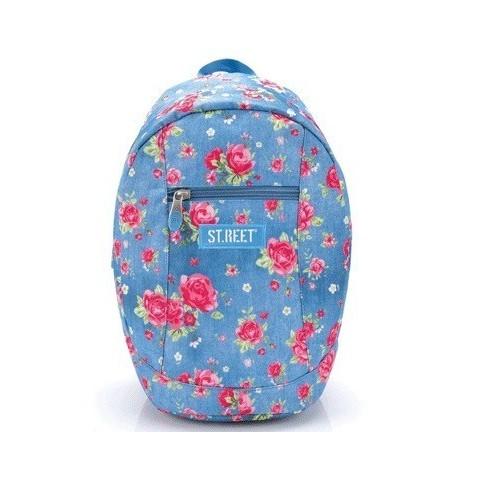 Plecak młodzieżowy 09 - MIEJSKI, NA WYCIECZKĘ - ST.REET niebieski w róże GARDEN