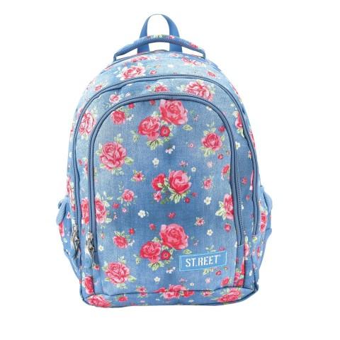 Plecak młodzieżowy 08 ST.REET niebieski w róże GARDEN
