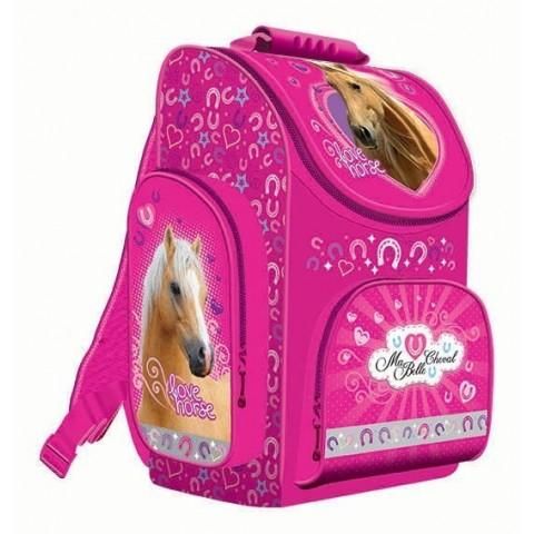 TORNISTER - MA BELLE CHEVAL różowy z koniem dla dziewczynki
