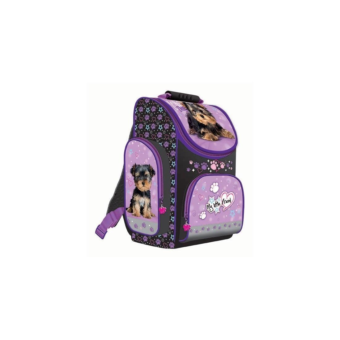 TORNISTER - MY LITTLE FRIEND z pieskiem york fioletowy dla dziewczynki - plecak-tornister.pl