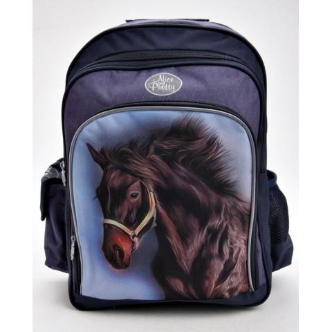 Plecak szkolny z koniem - CZARNY / KARY KOŃ