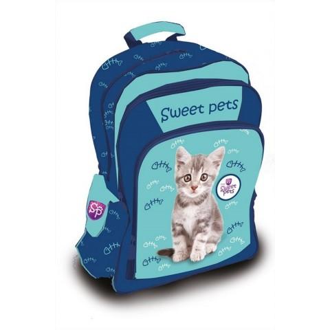 Plecak szkolny Sweet Pets z szarym kotkiem