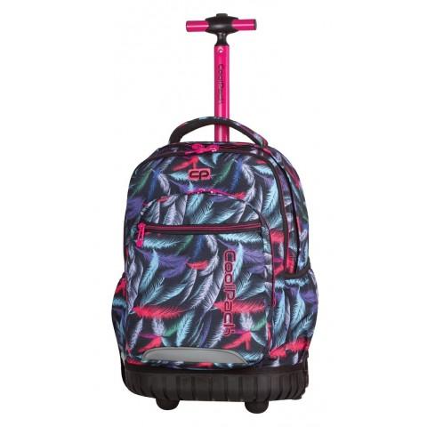 Plecak na kółkach CoolPack CP w piórna z różową rączką Swift