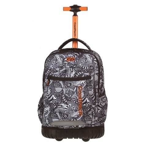 Plecak na kółkach do kolorowania dla dziewczyny CoolPack CP Swift Black Lace czarno-biały wzór