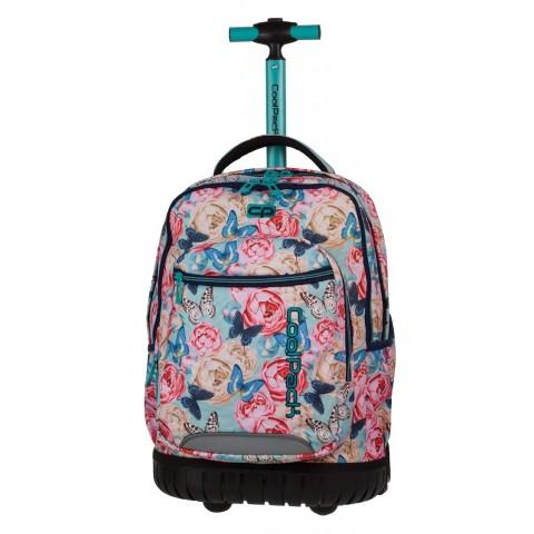 Plecak na kółkach dla dziewczynki, która kocha kwiaty i motyle - różowy CoolPack CP z niebieską rączką