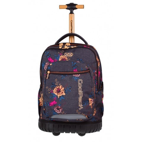 Plecak na kółkach dla dziewczynki CoolPack CP SWIFT DENIM FLOWERS szary w kwiaty