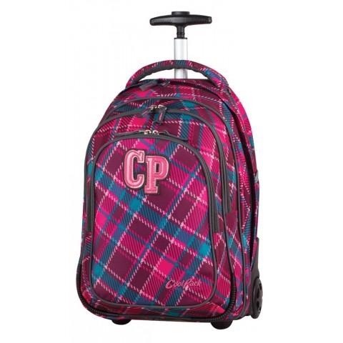 Plecak na kółkach CoolPack CP wiśniowy w kratkę TARGET CRANBERRY CHECK dla dziewczynki