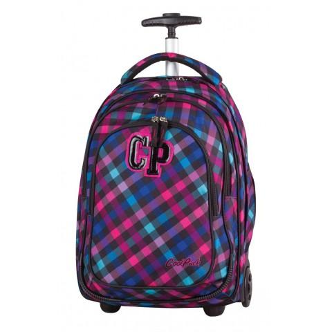 Plecak na kółkach CoolPack CP TARGET SCARLET dla dziewczynki różowo-filoetowy w kratkę