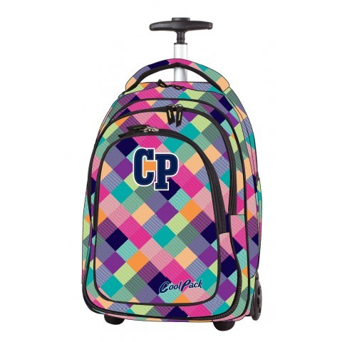 Plecak na kółkach CoolPack CP TARGET PATCHWORK 1042 pastelowy w kratkę dla dziewczynki