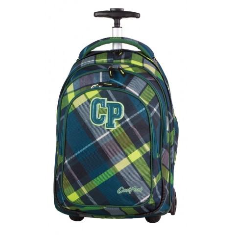 Plecak na kółkach CoolPack CP TARGET VERDURE zielony w kratę dla chłopca