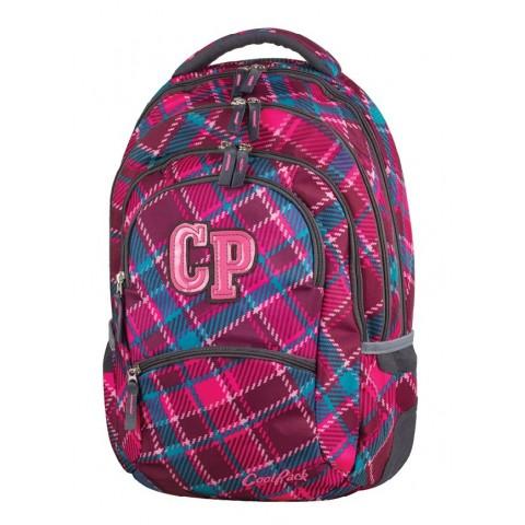 Plecak młodzieżowy CoolPack CP COLLEGE CRANBERRY CHECK 630 wiśniowy w kratkę - 5 przegród