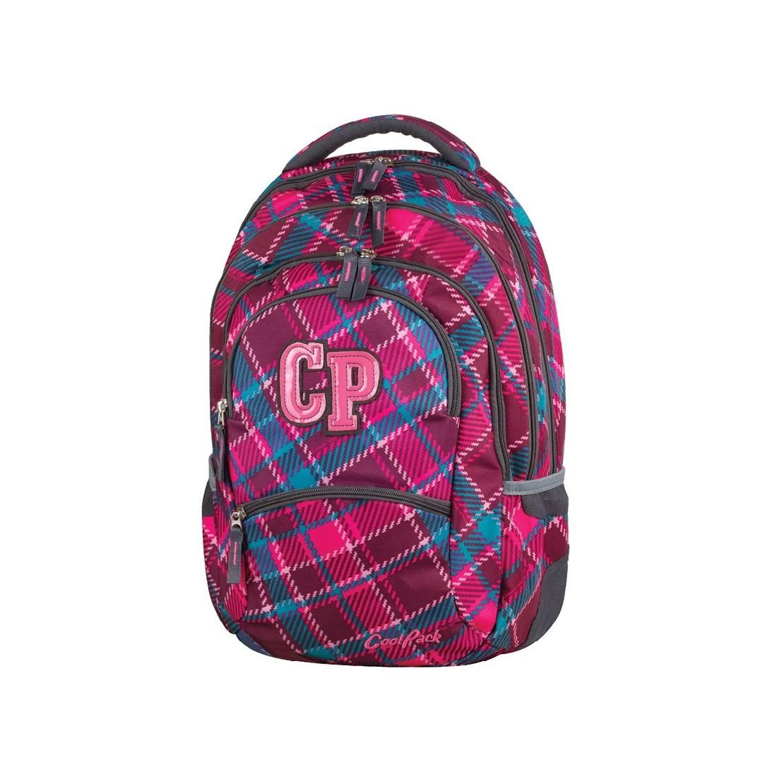7587cde8877f9 Plecak młodzieżowy CoolPack CP COLLEGE CRANBERRY CHECK 630 wiśniowy w  kratkę - 5 przegród