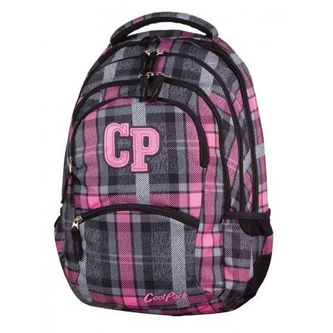 Plecak młodzieżowy CoolPack CP COLLEGE SCOTISH DAWN 693 szaro-różowy w kratkę - 5 przegród
