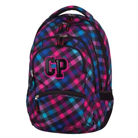 Plecak młodzieżowy CoolPack CP COLLEGE SCARLET 665 różowo-fioletowy w kratkę - 5 przegród