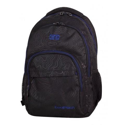 Plecak młodzieżowy CoolPack CP BASIC TOPOGRAPHY BLUE 985 czarny w topograficzne linie