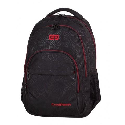Plecak młodzieżowy CoolPack CP BASIC TOPOGRAPHY RED 977 lekki czarny w topograficzne linie