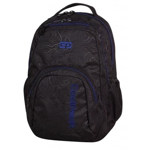 Plecak młodzieżowy CoolPack CP SMASH TOPOGRAPHY BLUE 984 czarny w topograficzne linie