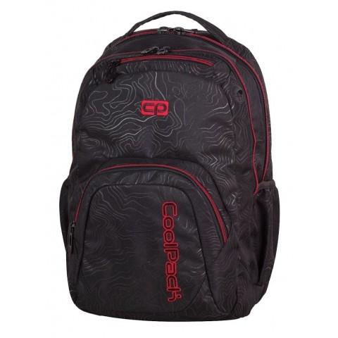 Plecak młodzieżowy CoolPack CP SMASH TOPOGRAPHY RED 976 czarny w topograficzne linie