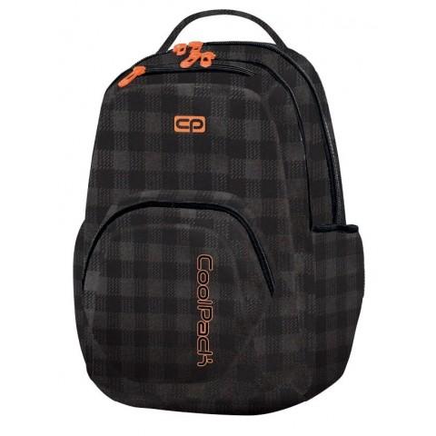 Plecak młodzieżowy CoolPack CP SMASH BLACK&ORANGE 1037 czarny w kratkę z pomarańczowymi wstawkami