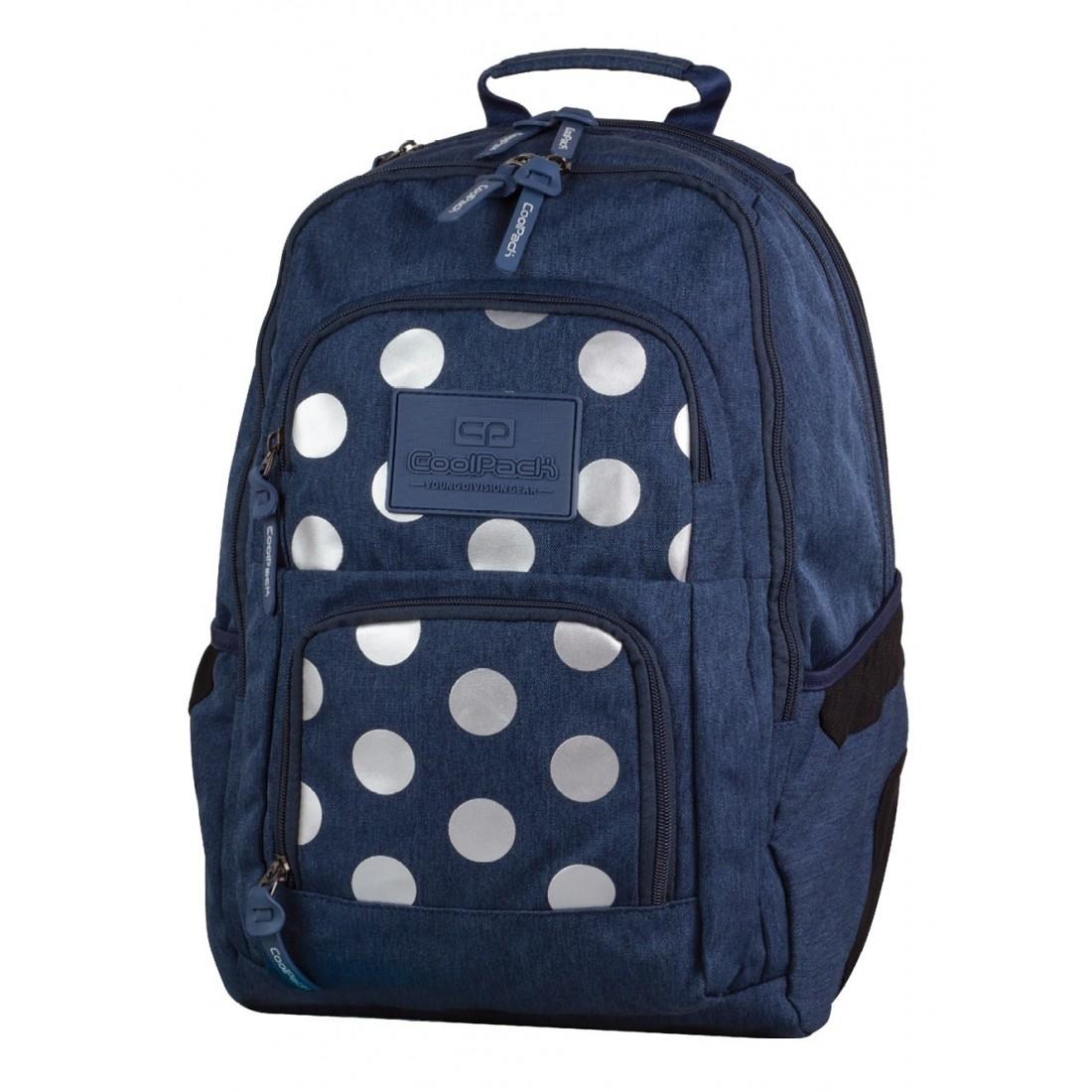 bba5ad468b5c4 Plecak młodzieżowy CoolPack CP UNIT 704 SILVER DOTS BLUE granatowy w kropki