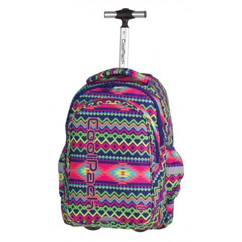 Plecak na kółkach CoolPack CP JUNIOR BOHO ELECTRA 782 Aztecki dla dziewczyny - zielone, żółte, różowe paski
