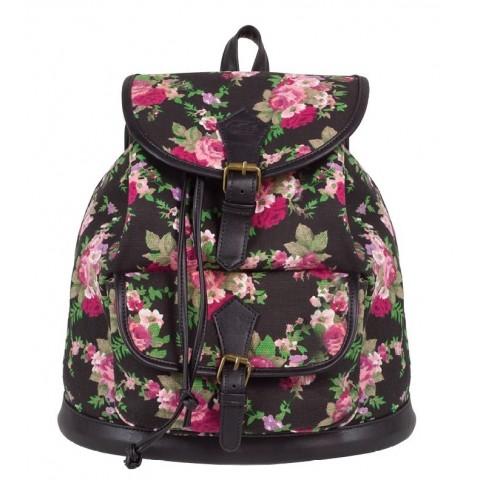 Plecak vintage CoolPack CP czarny w róże FIESTA ROSES 1026