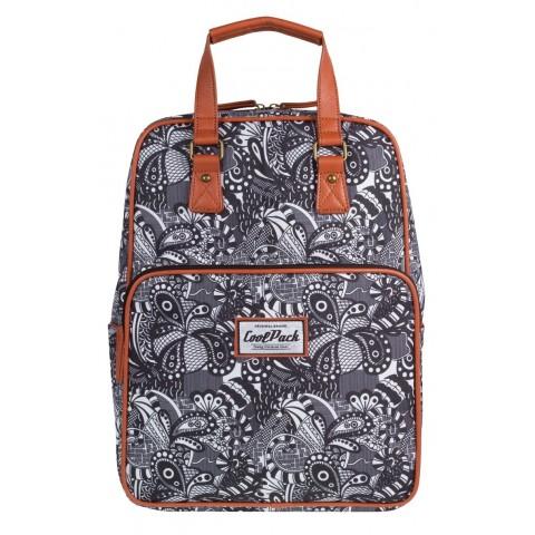 Plecak miejski CoolPack CP czarno-biały do kolorowania CUBIC vintage BLACK LACE 1033