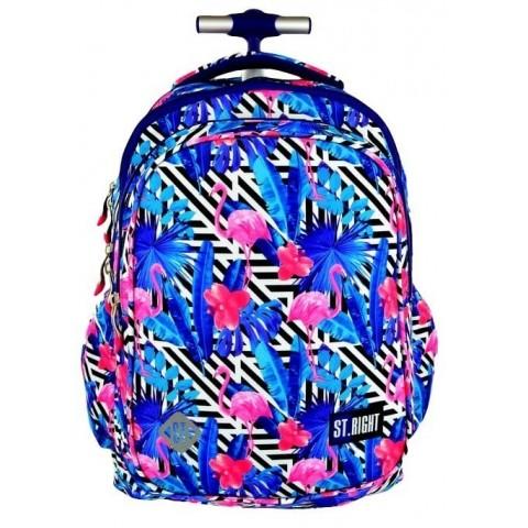Plecak na kółkach ST.RIGHT FLAMINGO PINK&BLUE flamingi niebieski