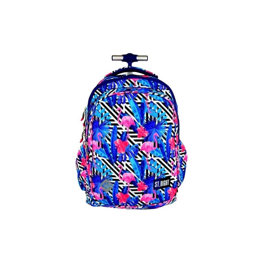 591f57dbbeebc Plecak szkolny na kółkach ST.RIGHT Flamingo Pink&Blue flamingi niebieski  dla dziewczynki.