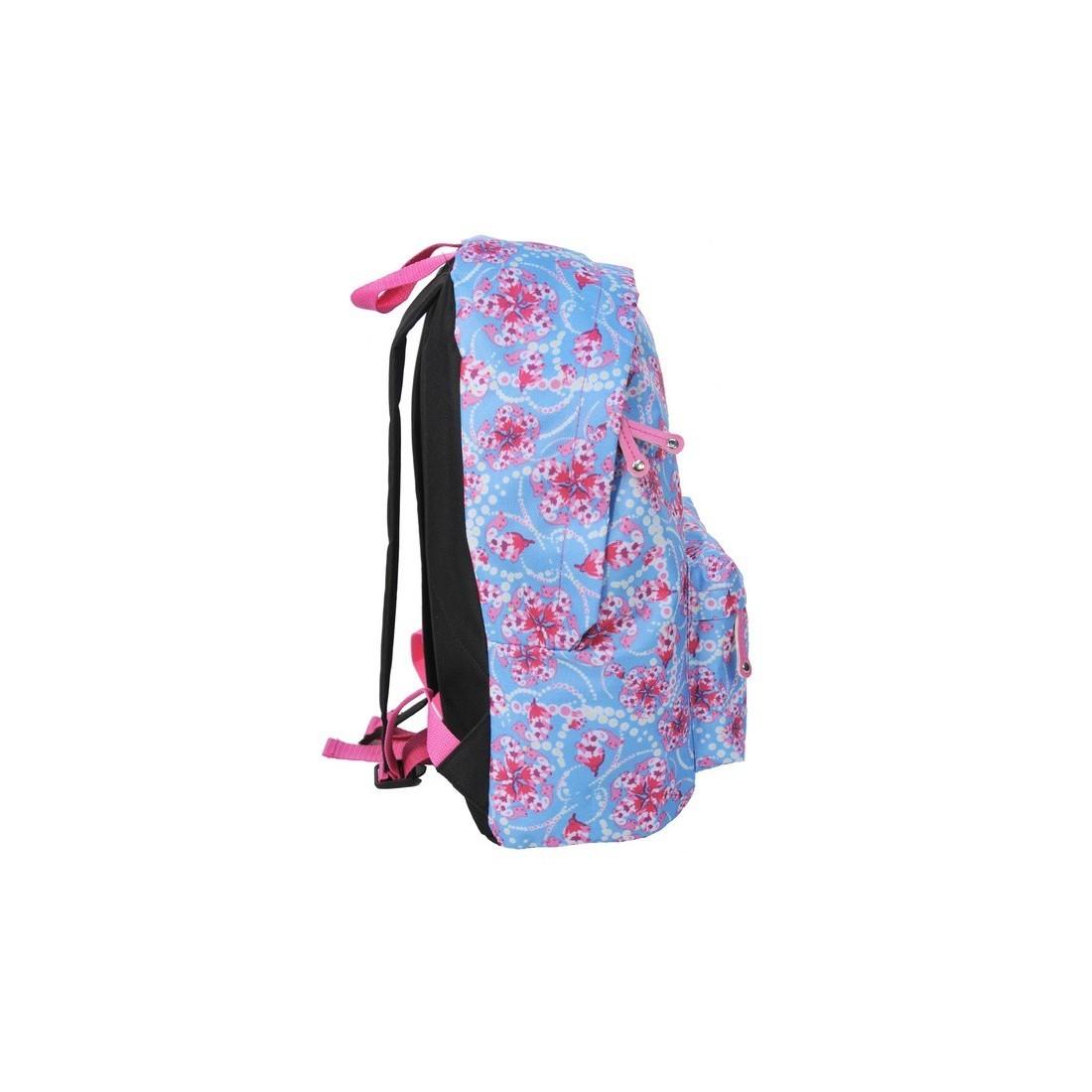 Plecak młodzieżowy niebieski w różowe kwiaty - plecak-tornister.pl