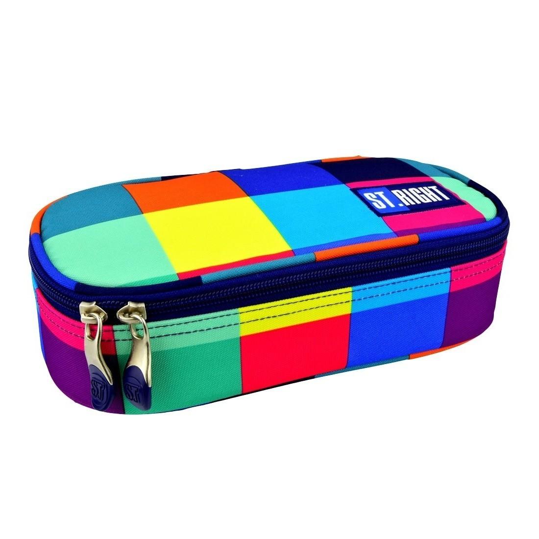 Piórnik etui szkolny usztywniany XL ST.RIGHT MAXI SQUARES kolorowe kwadraty