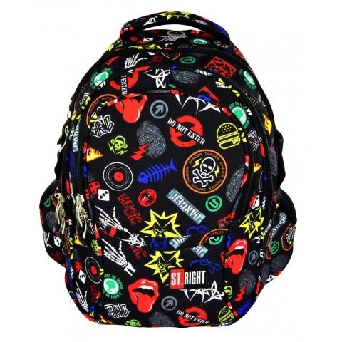 Plecak młodzieżowy 01 ST.RIGHT BADGES kolorowe odznaki