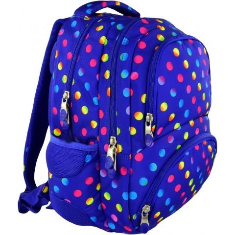 Plecak młodzieżowy 07 ST.RIGHT NEON DOTS fioletowy w kropki