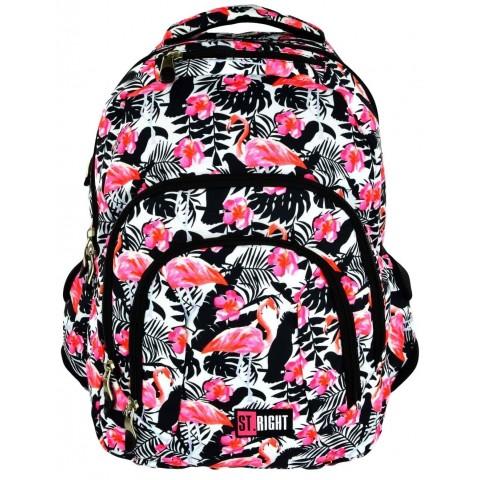 Plecak młodzieżowy 25 ST.RIGHT FLAMINGO PINK&BLACK flaming czarno-biały