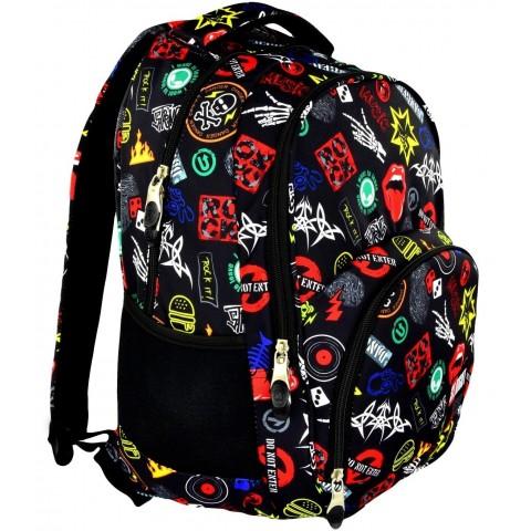 Plecak młodzieżowy 23 ST.RIGHT BADGES kolorowe odznaki