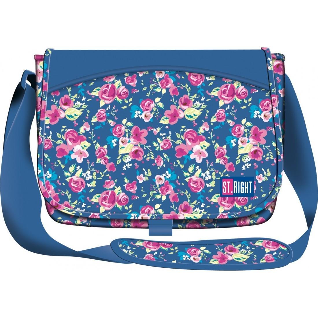 123026ef28612 Torba na ramię   listonoszka 01 ST.RIGHT niebieska w kwiaty FLOWERS 2 NAVY  BLUE
