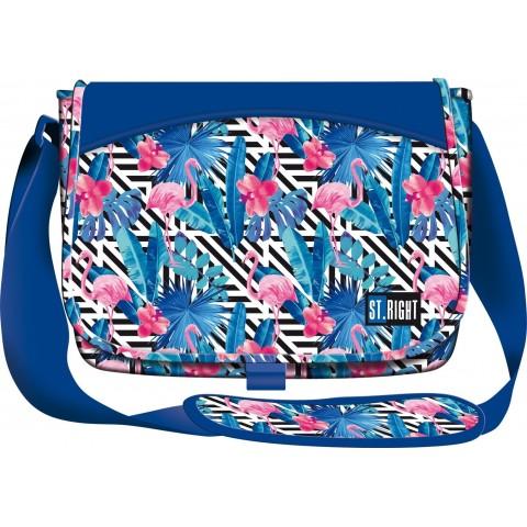 Torba na ramię / listonoszka 01 ST.RIGHT FLAMINGO PINK & BLUE flamingi niebieski